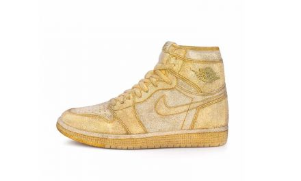 Golden Air Jordan with Crystals by Daniel Jacob